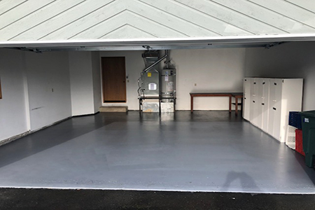 pressure washed garage flooring